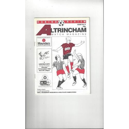 Altrincham v Lincoln City FA Cup Football Programme 1988/89