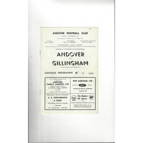1962/63 Andover v Gillingham FA Cup Football Programme