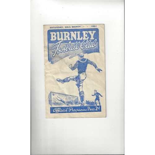 1950/51 Burnley v Manchester United Football Programme