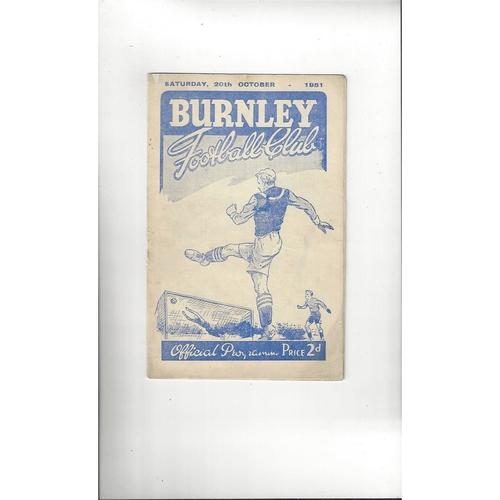 1951/52 Burnley v Manchester City Football Programme