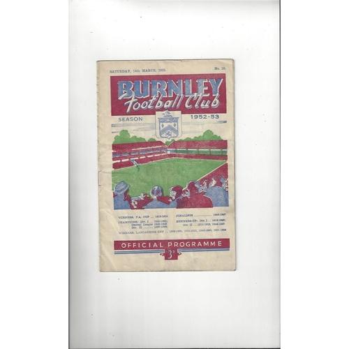 1952/53 Burnley v Manchester United Football Programme