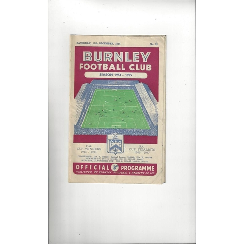 1954/55 Burnley v Manchester United Football Programme