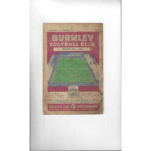 1954/55 Burnley v Manchester City Football Programme