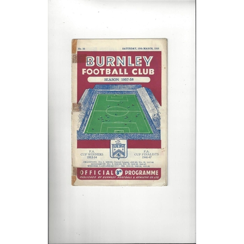 1957/58 Burnley v Manchester United Football Programme