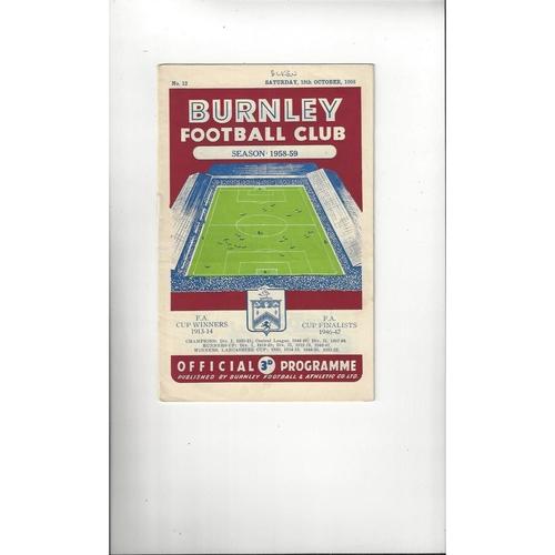1958/59 Burnley v Blackburn Rovers Football Programme