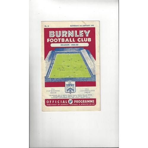 1958/59 Burnley v Leeds United Football Programme