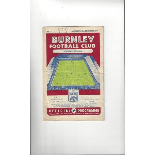1958/59 Burnley v Leicester City Football Programme