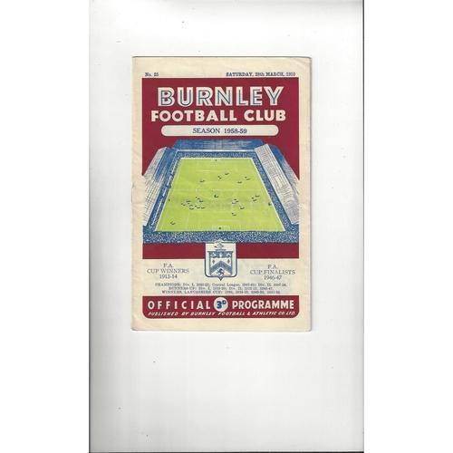1958/59 Burnley v Manchester United Football Programme