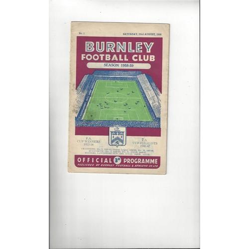 1958/59 Burnley v Manchester City Football Programme