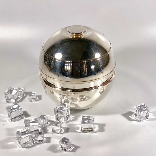 Italian silver plated and glass thermal ice bucket 1950s