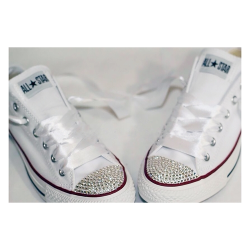 Swarovski Crystal Wedding Converse Trainers (Classic White)