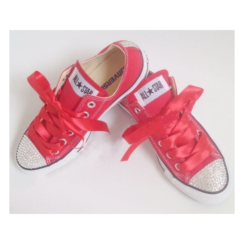 4dd28350c8c2 Swarovski Crystal Sparkly Bling Converse Trainers (Adults - Red ...