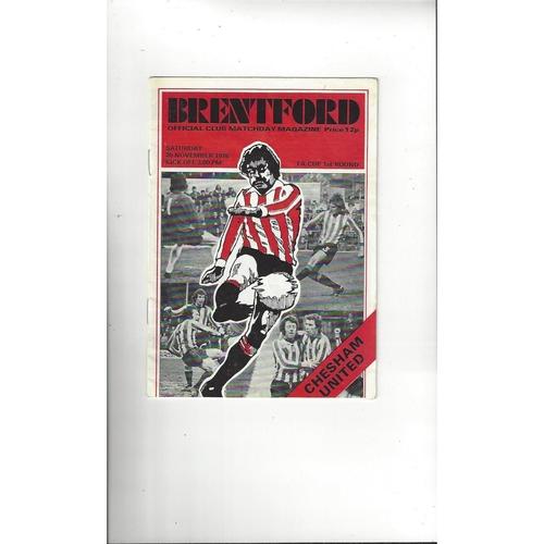 Brentford v Chesham United FA Cup Football Programme 1976/77