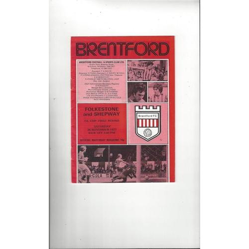 Brentford v Folkestone & Shepway FA Cup Football Programme 1977/78