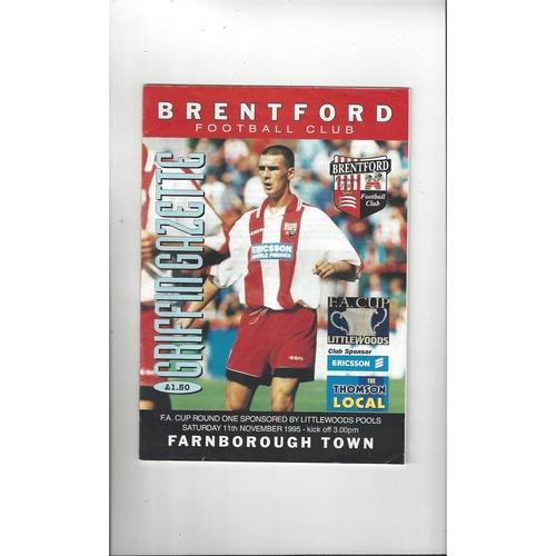 Brentford v Farnborough Town FA Cup Football Programme 1995/96