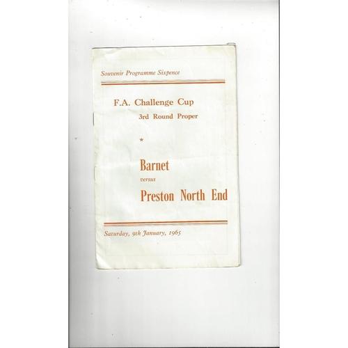 Barnet v Preston FA Cup Football Programme 1964/65