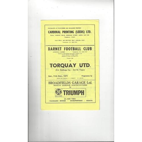 Barnet v Torquay United FA Cup Football Programme 1971/72