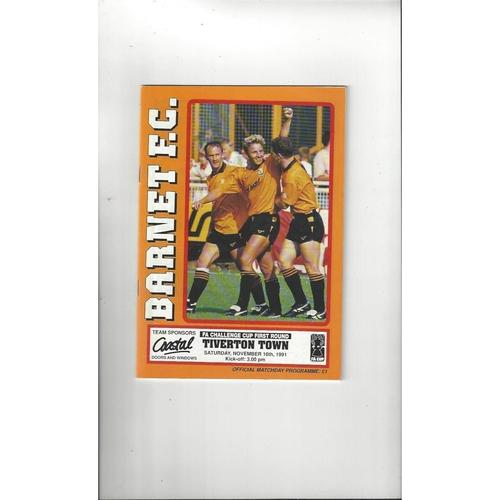 Barnet v Tiverton Town FA Cup Football Programme 1991/92