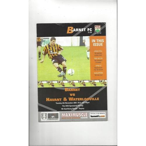 Barnet v Havant & Waterlooville FA Cup Replay Football Programme 2001/02