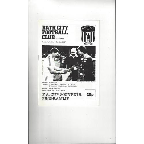 Bath City v Plymouth Argyle FA Cup Football Programme 1977/78