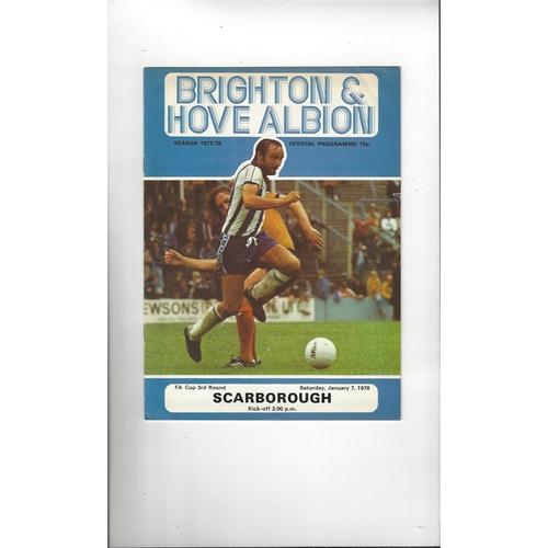 Brighton v Scarborough FA Cup Football Programme 1977/78