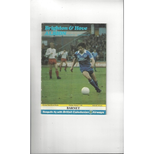 Brighton v Barnet FA Cup Football Programme 1981/82