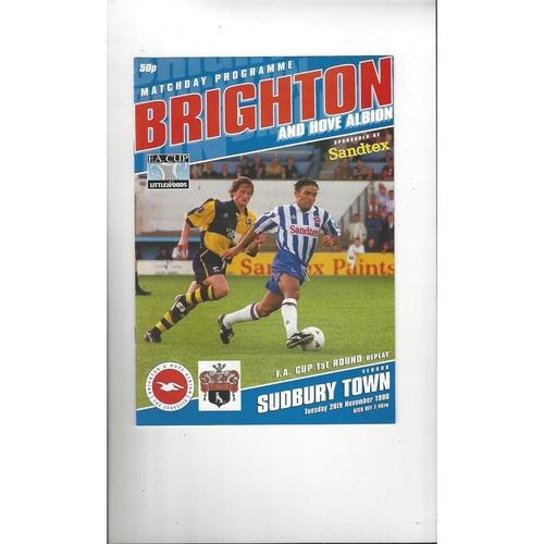 Brighton v Sudbury Town FA Cup Football Programme 1996/97