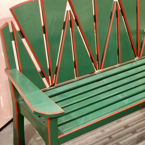 Art Deco style painted wooden bench