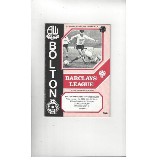 1987/88 Bolton Wanderers v Scarborough Football Programme
