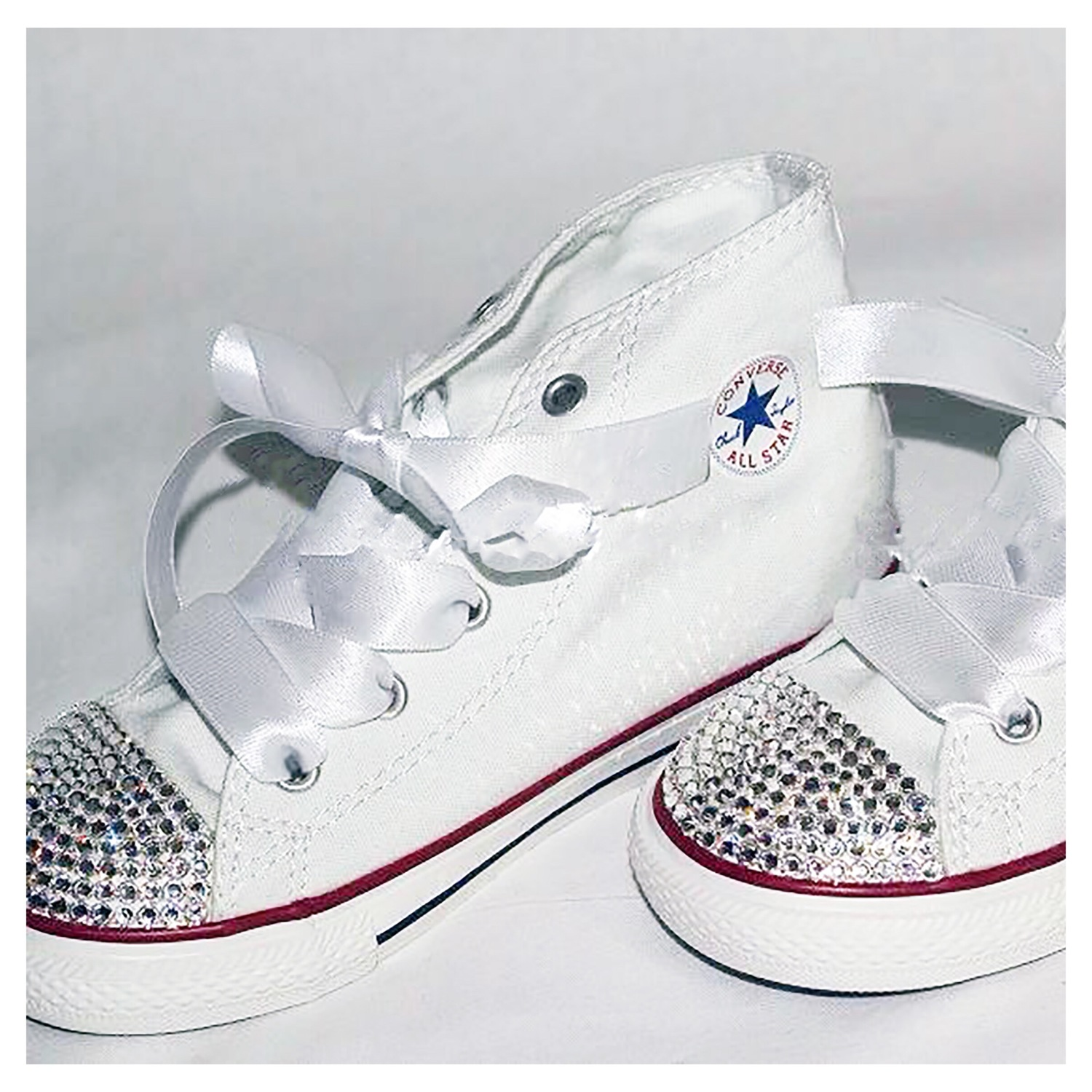 971875978e8d1 Swarovski Crystal Sparkly Bling Converse Trainers (Children's High ...