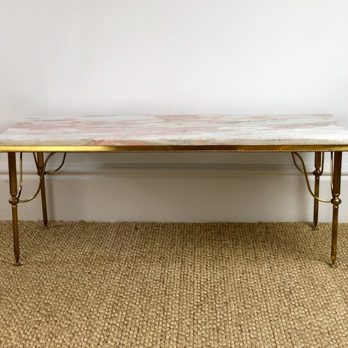 Pink Marble and Brass Coffee Table
