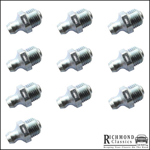 "1/8"" BSP Straight Grease Nipples - Pack of 10 - L-GN-02"