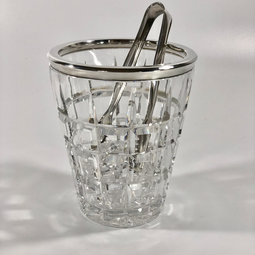 Hallmarked silver and crystal ice bucket