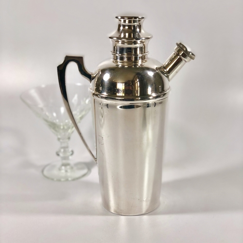 English Art Deco silver plated cocktail shaker by Barker Bros.