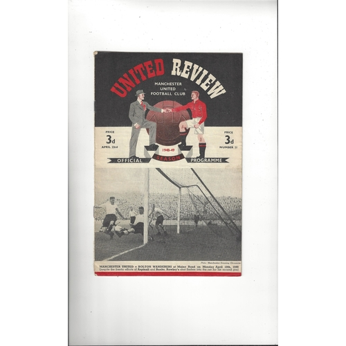 1948/49 Manchester United v Preston Football Programme