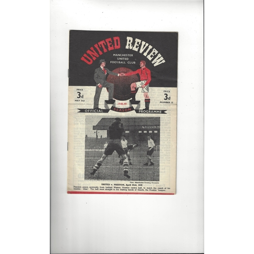 1948/49 Manchester United v Middlesbrough Football Programme