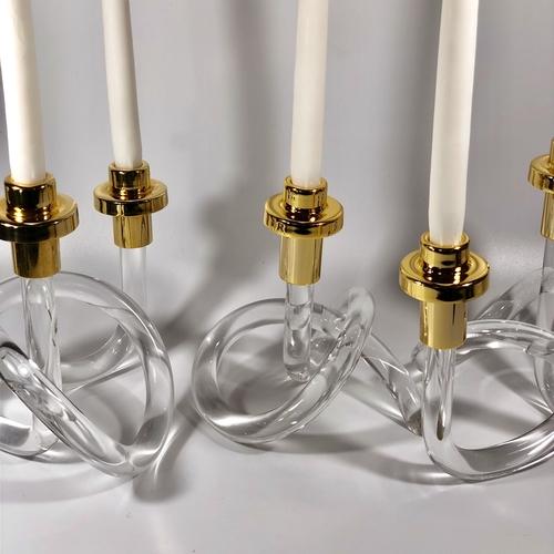 Trio of Dorothy Thorpe lucite Pretzel candlesticks