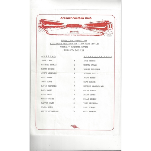 1987/88 Arsenal v Doncaster Rovers Littlewoods Challenge Cup Colour Football Team Sheet