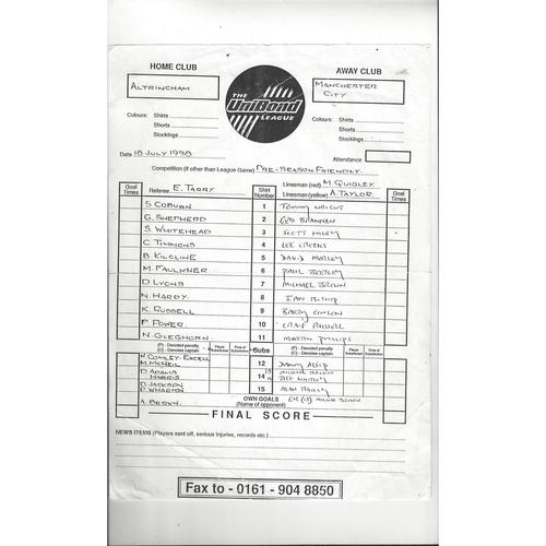 1998/99 Altrincham v Manchester City Friendly printed Team Sheet
