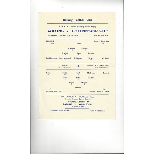 Barking v Chelmsford City FA Cup Replay Football Programme 1954/55