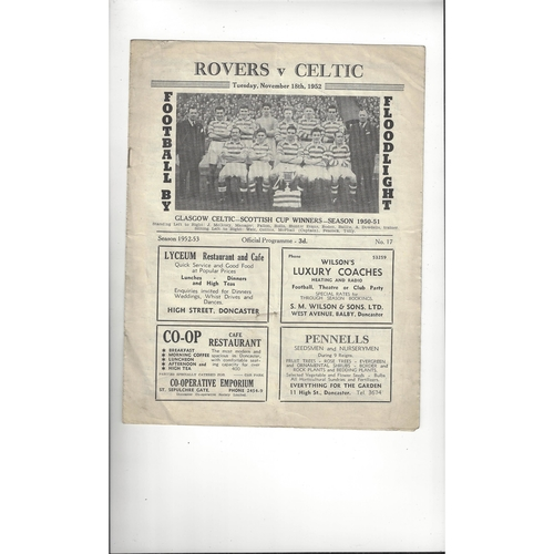 Doncaster Rovers v Celtic Friendly Football Programme 1952/53