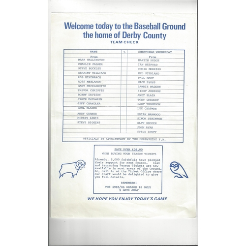 1985/86 Derby County v Sheffield Wednesday Friendly Colour Football Team Sheet