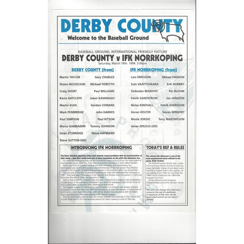 1993/94 Derby County v IFK Norrkoping Friendly Colour Football Team Sheet