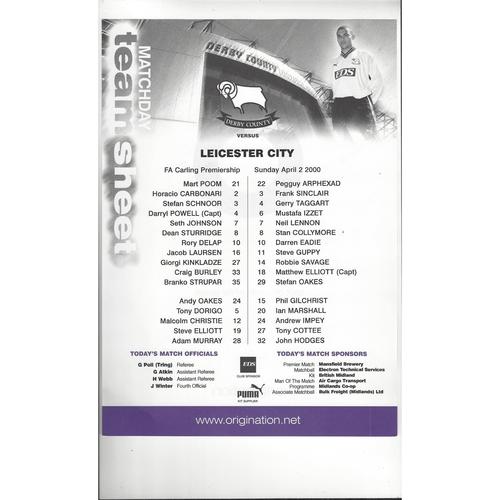 Derby County v Leicester City Colour Football Team Sheet 1999/00