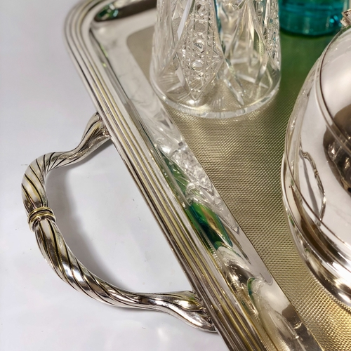 Giant French engine turned silver plated serving tray