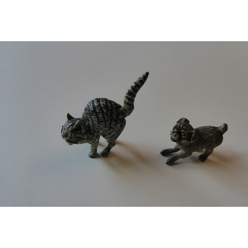 Austrian Cold Painted Bronze Cat and Dog circa 1900 - £350
