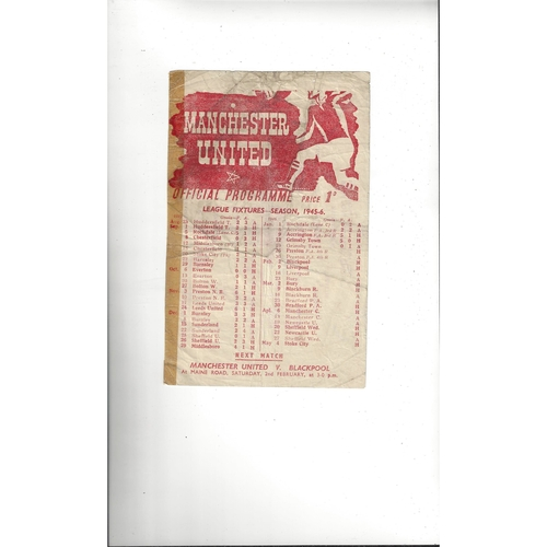 1945/46 Manchester United v Preston Football Programme