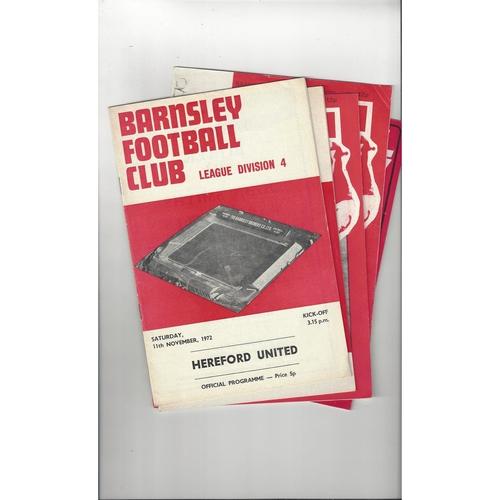 12 Barnsley home Football Programmes 1971/72 - 2016/17