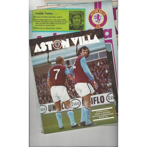 10 Aston Villa home Football Programmes 1976/77 - 2016/17