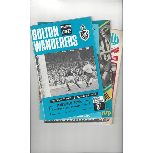 13 Bolton Wanderers home Football Programmes 1971/72 - 1996/97